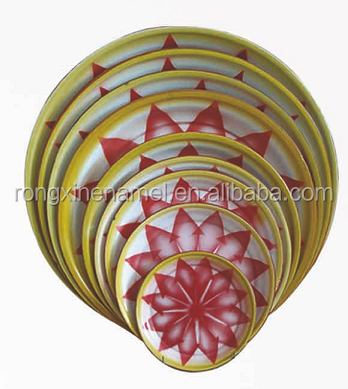 Enamel round tray steel plate decorative tray