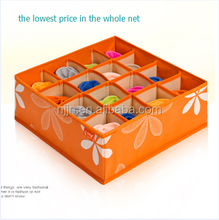 Folding 16 lattice Non-woven Fabric Drawers Wooden Storage Boxes with Wheels