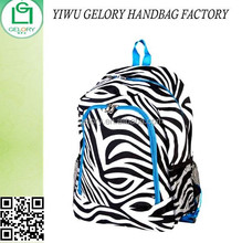 Black & White Zebra Animal Printed Canvas Backpack Blue Trim Padded School Book Bag w/side mesh bottle pockets