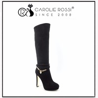 Crotch High Heel Boots Luxury Gold Edge High Heels with Diamond Strap