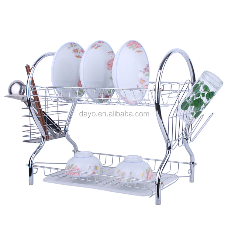 Multifunction 2-Tier Metal Kitchen Dish Drying Rack with Plastic Tray
