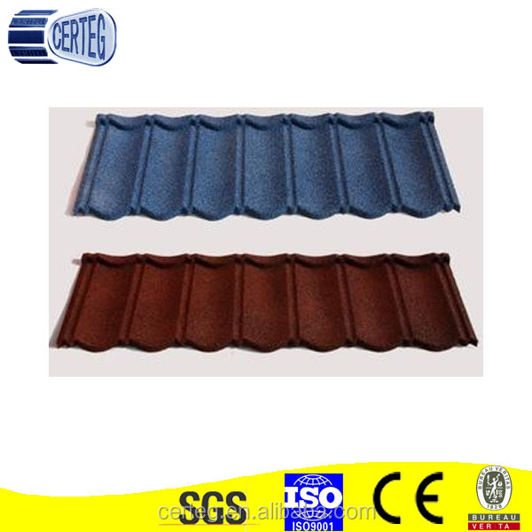 Color Stone Coated Metal Roof Tiles Cover Area