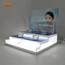 LED Unique Acrylic Cosmetics Skin Care Makeup Display Stand Rack for Skin Care Products