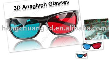plastic frame red/blue 3d glasses with 0.72 mm thickness lens