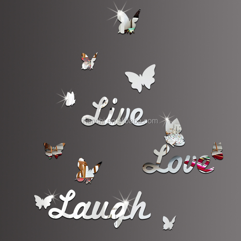 3D Mirror Butterfly Live Love Laugh Wall Sticker Home Decor Art Decal Acrylic Creative English Alphabet Wall Stickers