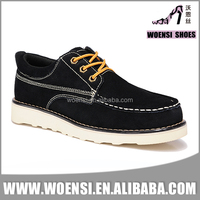 wholesale factory customized classic black color suede high quality lace up comfortable casual footwear shoes for men