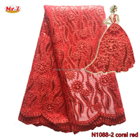African Embroidered Sequin Lace For Clothes N1088