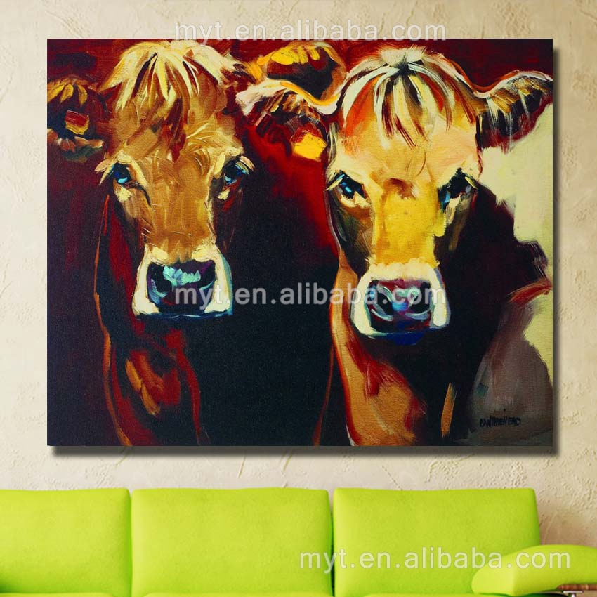 Cute animal photo hand paint wall pictures colorful cow canvas painting