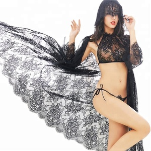 Women beautiful black lace see through nightgown latest long sexy nighty designs 3 piece nighty lingerie image