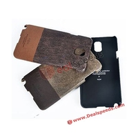 Kajsa Double Color Design Vintage Leather Coated Back Hard PC Case for Samsung Galaxy Note 3 N9000 N9002 N9005