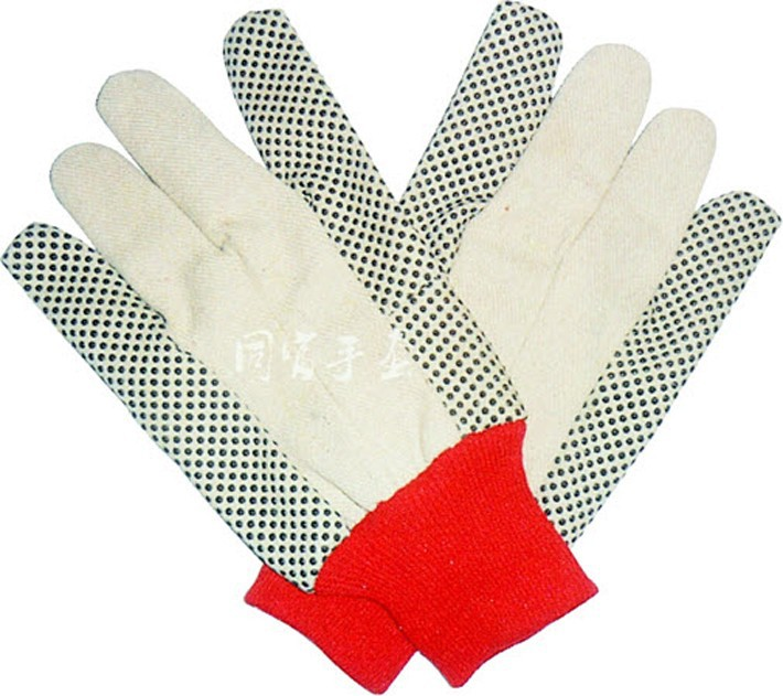 canvas glove with black pvc dots for safety working