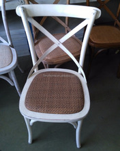 Provincial Rattan Seating Curved Leg White Cross Back Wedding Chair