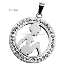 SRP2077 New Products 2016 Pretty Lady Silhouette Crystal Charm Pendant