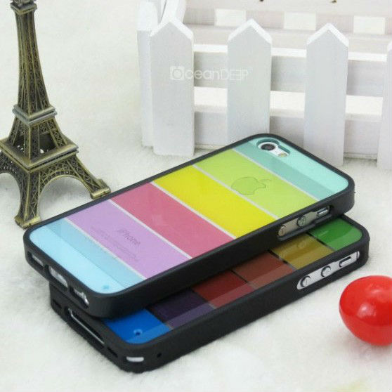 Crystal clear multi-colored pc hard silicon case for iphone5 colorful combo android phone case China cell phone accessories