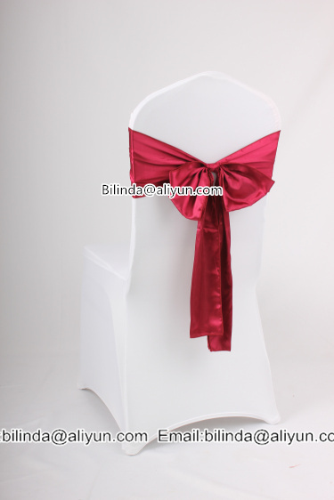 white spandex chair cover with satin bow sash