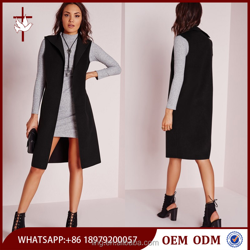 Polyester / Viscose Flattering Fit Black Sleeveless Jacket for Woman