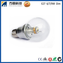 Isolated driver IC driver high quality round shape 360 degree led bulb 6W/ 7W/ 9W e27