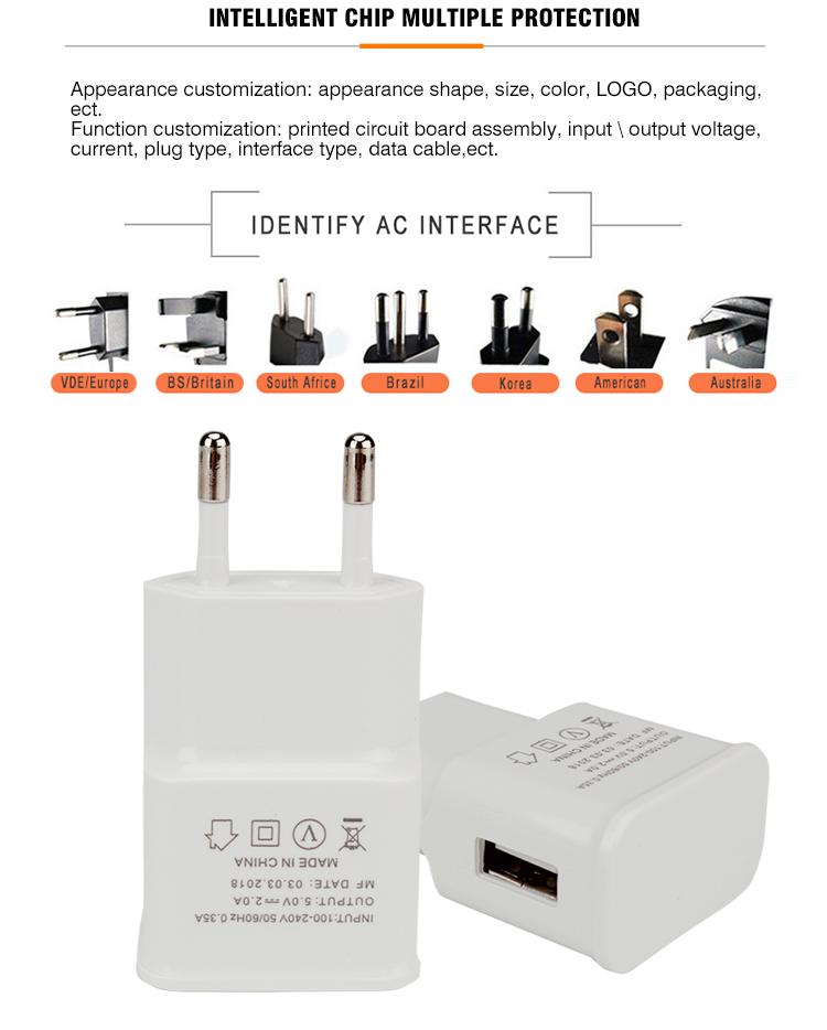 En gros blanc 1A/2A intelligent USB chargeur de téléphone portable pour android ios - ANKUX Tech Co., Ltd