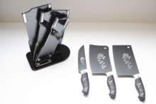 China Made 3pcs stainless steel nonstick coating kitchen knife set with acrylic knife block