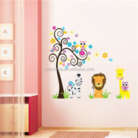 colorcasa ZYPB-5091 kindergarten decoration animal stickers for kids 3d wall decor