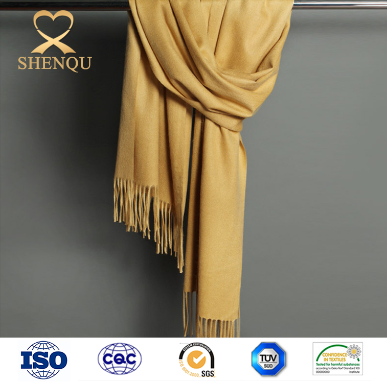 2016 new design solid color thick big tassel wool scarf for winter custom-made printed shawls