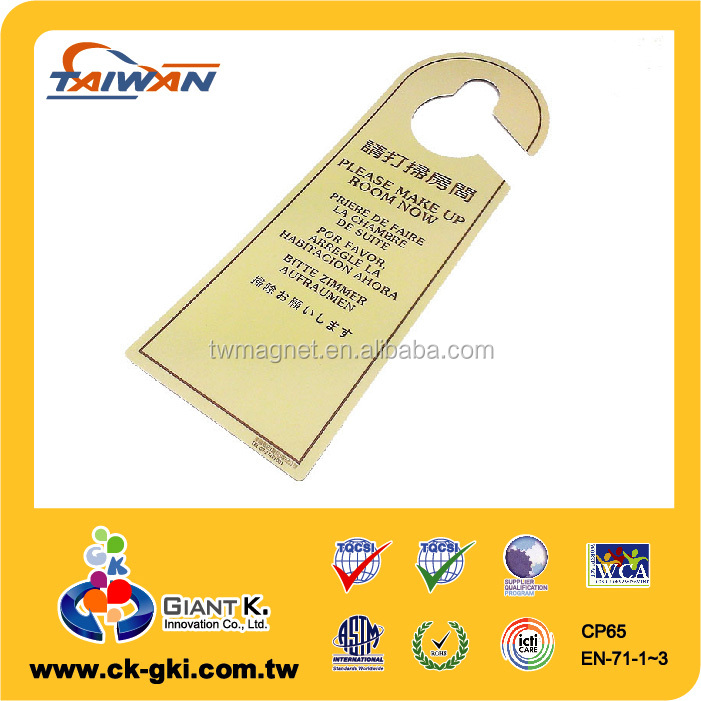 Customized creative yellow plastic door hanger white board