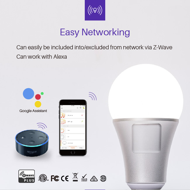 Rechargeable E27 smart lighting led bulb lamps with Alexa and google home