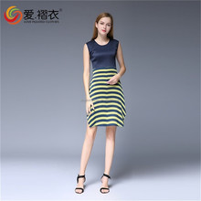 Cheap Fashion Women clothing side slip Sweet Short Pleated Jiont Stripe Dress slit up dress
