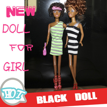 New plastic black doll for girl