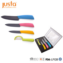 Ceramic kitchen knife set with coating