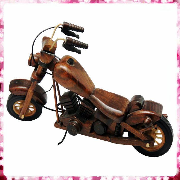 Memorable wooden motorcycle model for home decoration