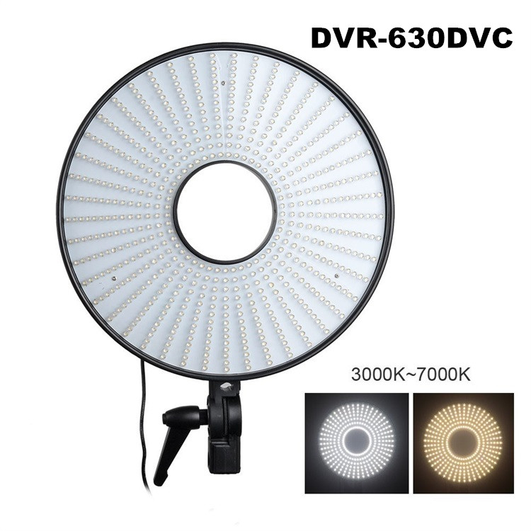 Studio Lighting DVR-630DVC LED Ring Light Lamp Dimmable 630 LEDs 3000k-7000K Bi-color Color Temp. Adjustable Led Video Light