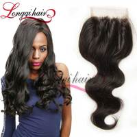 Cheap Brazilian Human Hair Silk Base 3 Part Lace Closure With Baby Hairs