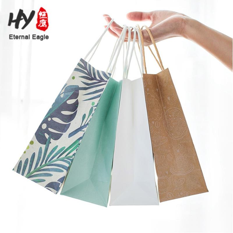 Large eco-friendly printed packing gift shopping paper bag