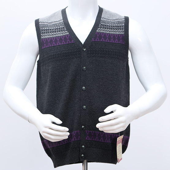 Fine quality cotton Fashionable cashmere cable knit pattern mens vest