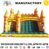 Cartoon inflatable bounce house jumping castle with slider and ladder for chilkdren park