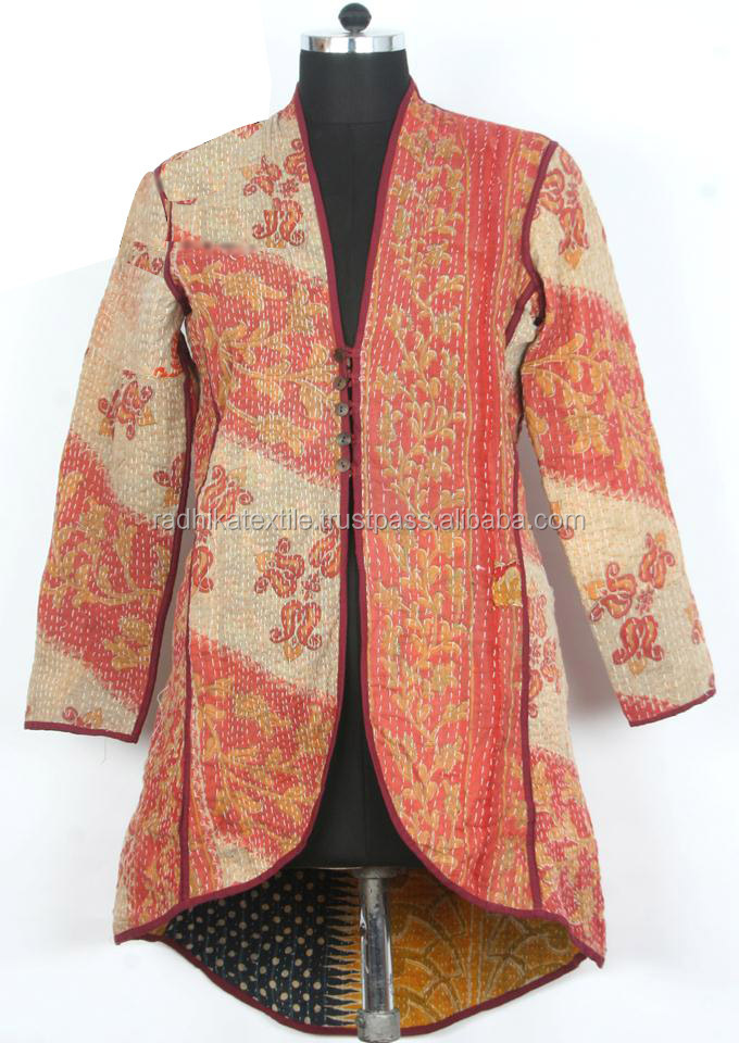 RTHCJ-7 Beautiful Pink Flower printed long size kantha cotton Full sleeve reversible Winter Jackets with buttons Jaipur