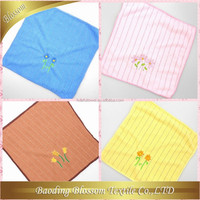 plain dyed stripe embroidery microfiber hand towel