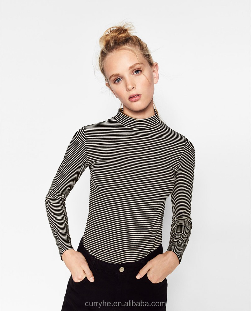 High Quality OEM Service Spring/Autumn European Style Breathable 100%Cotton Long Sleeve Round Neck WoMen collar neck designs