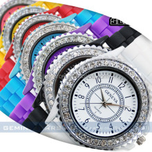 China supplier hot sale silicone geneva watches diamond laides womens quartz wrist watch