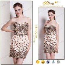 Beautiful leopard printed fabric ventilate comfortable korean sexy club dress