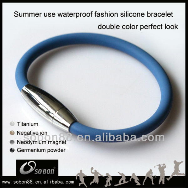 health negative ion magnetic clasp 316 stainless steel silicone bracelet