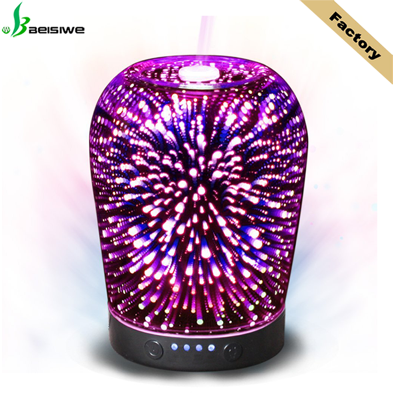New Arrival LED Firework Ultrasonic Humidifier 3D Glass Diffuser Essential <strong>Oil</strong> DIffuser with Private Label