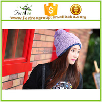 ladies winter acrylic knit beanie hats with ball braids