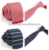 Fashion 2'' Polyester Knitted Slim Skinny Necktie Flat Bottom