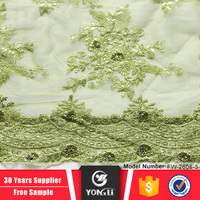 Shiny green african sequin lace embroidery fabric for sale