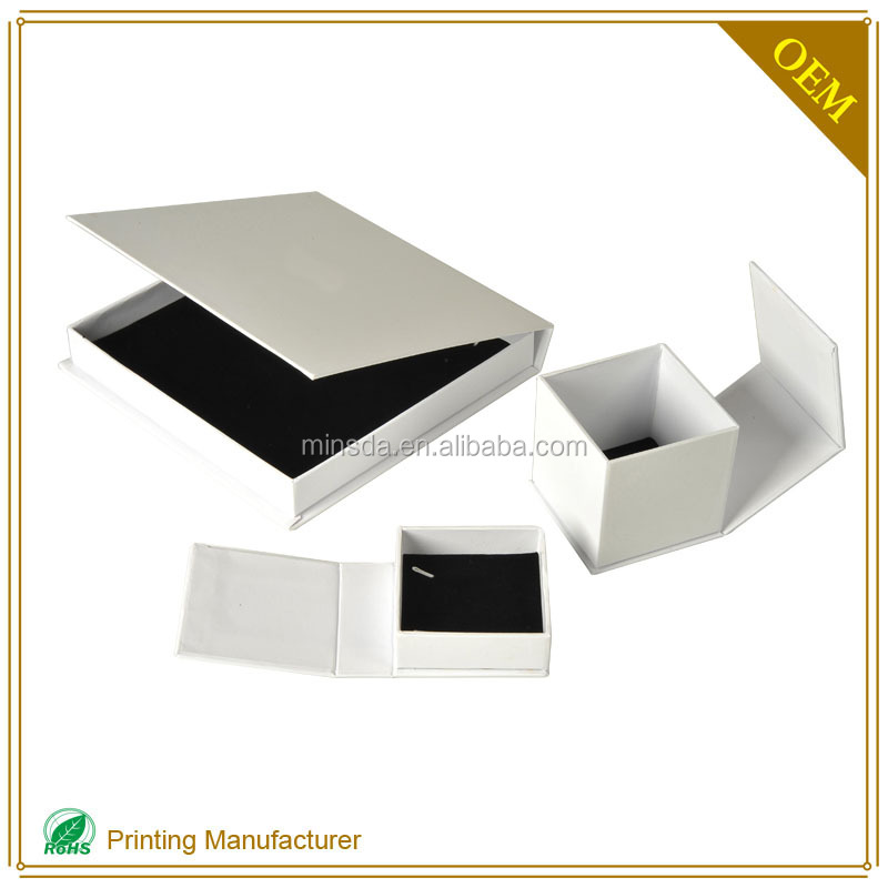 White Color Deluxe Cardboard Pendant Bangle Velvet Earring Box