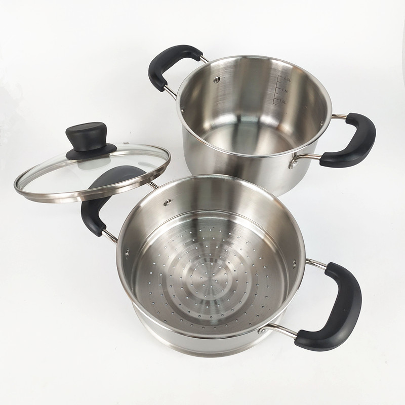 304 Stainless Steel Kitchen Cookware  2 layer Food Steamer Pot