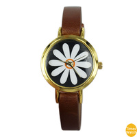2015 New style dress watch Sunflower male female couple leather belt wrist watches