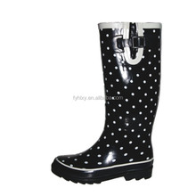 lady footwear rain boots garden shoes wide upper boot dot print rubber rain boots